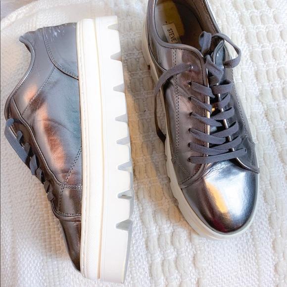 55b79e81b26 Steve Madden Kickstart Silver Platform Sneakers